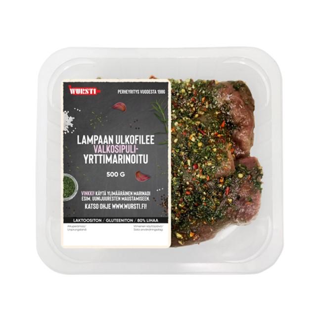 Pääsiäisen kausituotteet Lihat Yrtti-valkosipuli marinoitu Lampaan ulkofilee 500g